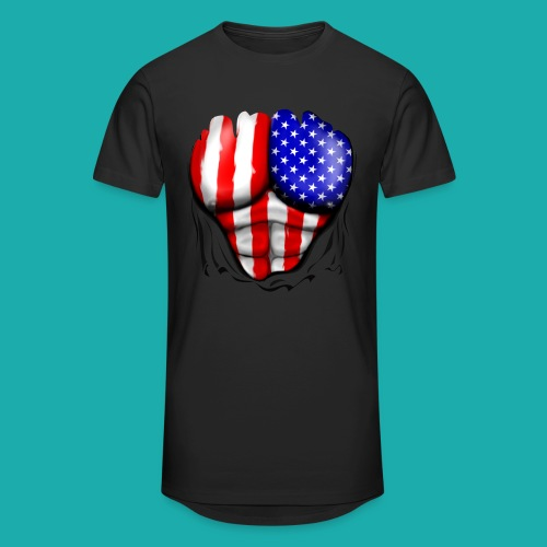 America Flag Ripped Muscles, six pack, chest t-shi - Men's Long Body Urban Tee