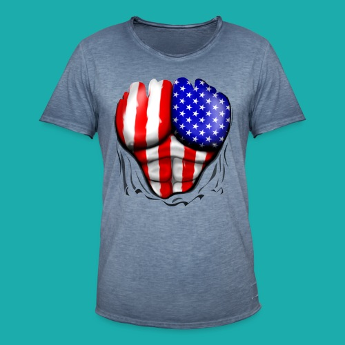 America Flag Ripped Muscles, six pack, chest t-shi - Men's Vintage T-Shirt