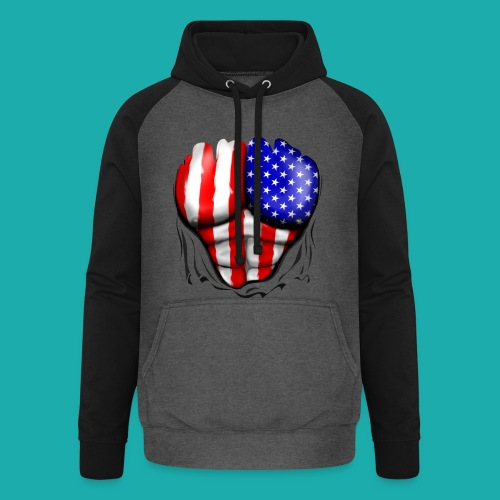 America Flag Ripped Muscles, six pack, chest t-shi - Unisex Baseball Hoodie