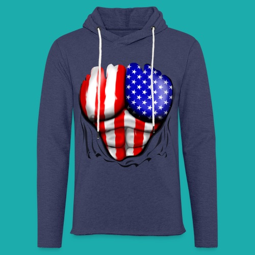 America Flag Ripped Muscles, six pack, chest t-shi - Light Unisex Sweatshirt Hoodie