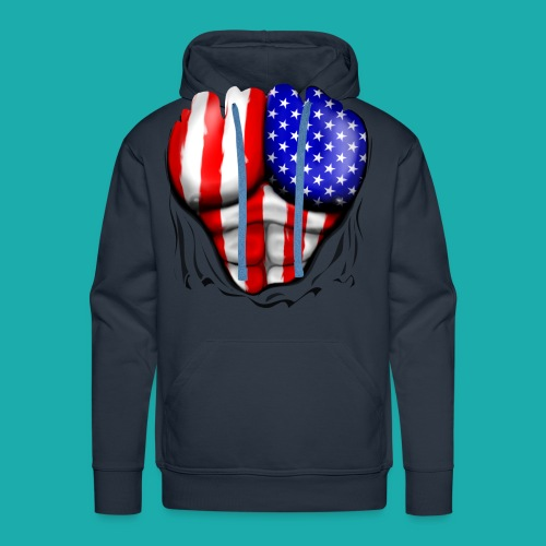 America Flag Ripped Muscles, six pack, chest t-shi - Men's Premium Hoodie
