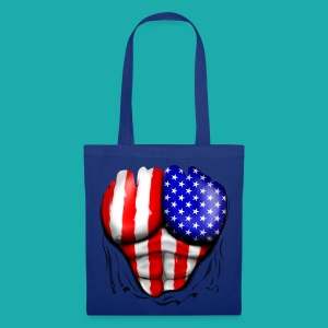 America Flag Ripped Muscles, six pack, chest t-shi - Tote Bag