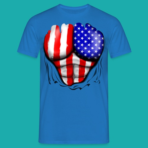 America Flag Ripped Muscles, six pack, chest t-shi - Men's T-Shirt