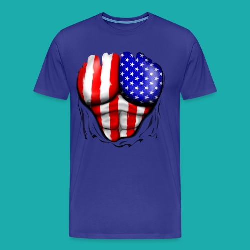 America Flag Ripped Muscles, six pack, chest t-shi - Men's Premium T-Shirt