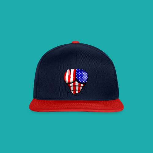 America Flag Ripped Muscles, six pack, chest t-shi - Snapback Cap