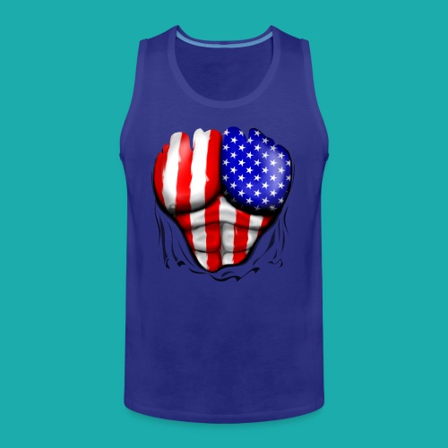 America Flag Ripped Muscles, six pack, chest t-shi - Men's Premium Tank Top