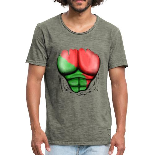 Portugal Flag Ripped Muscles, six pack, chest t-shirt - Men's Vintage T-Shirt