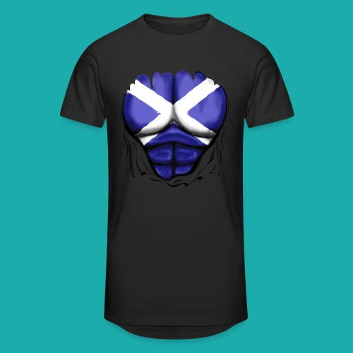 Scotland Flag Ripped Muscles, six pack, chest t-shirt - Men's Long Body Urban Tee