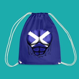 Scotland Flag Ripped Muscles, six pack, chest t-shirt - Drawstring Bag