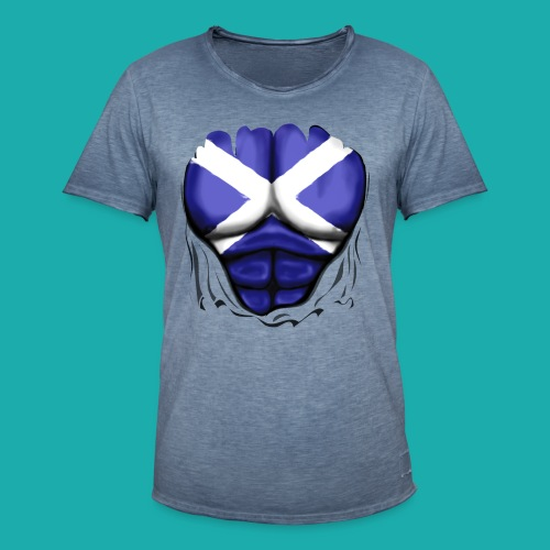 Scotland Flag Ripped Muscles, six pack, chest t-shirt - Men's Vintage T-Shirt