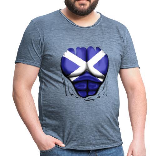 Scotland Flag Ripped Muscles, six pack, chest t-shirt - Men's Vintage T-Shirt