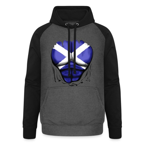 Scotland Flag Ripped Muscles, six pack, chest t-shirt - Unisex Baseball Hoodie