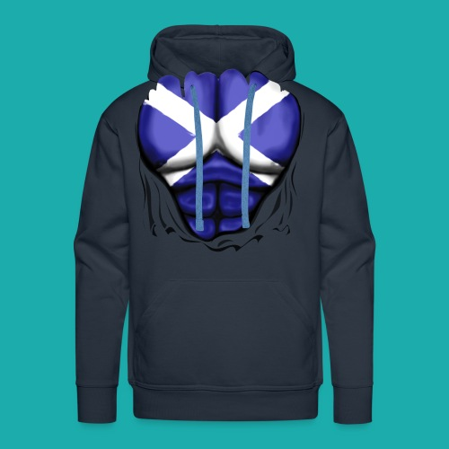 Scotland Flag Ripped Muscles, six pack, chest t-shirt - Men's Premium Hoodie