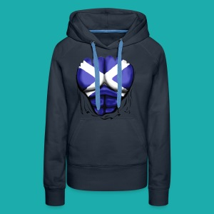 Scotland Flag Ripped Muscles, six pack, chest t-shirt - Women's Premium Hoodie