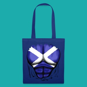 Scotland Flag Ripped Muscles, six pack, chest t-shirt - Tote Bag