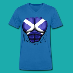 Scotland Flag Ripped Muscles, six pack, chest t-shirt - Men's V-Neck T-Shirt