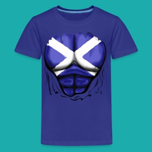 Scotland Flag Ripped Muscles, six pack, chest t-shirt - Teenage Premium T-Shirt