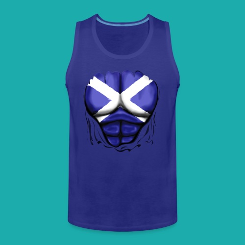 Scotland Flag Ripped Muscles, six pack, chest t-shirt - Men's Premium Tank Top