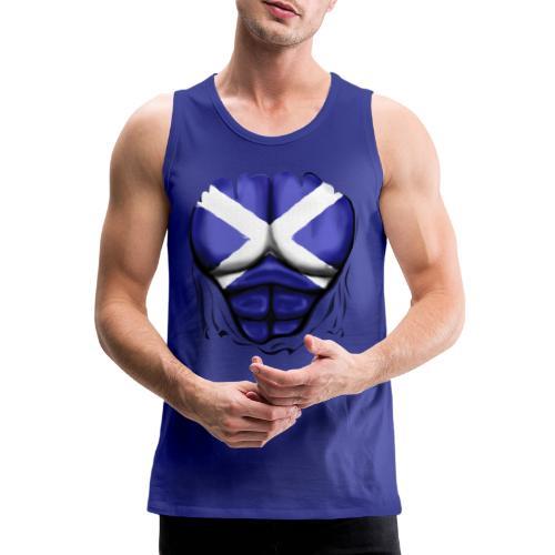 Scotland Flag Ripped Muscles, six pack, chest t-shirt - Men's Premium Tank Top