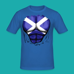 Scotland Flag Ripped Muscles, six pack, chest t-shirt - Men's Slim Fit T-Shirt