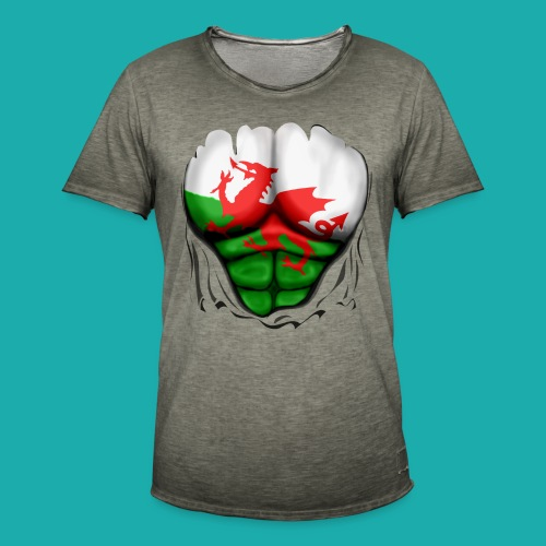 Wales Flag Ripped Muscles, six pack, chest t-shirt - Men's Vintage T-Shirt