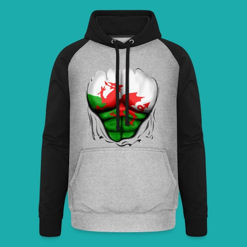 Wales Flag Ripped Muscles, six pack, chest t-shirt - Unisex Baseball Hoodie