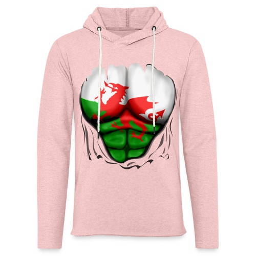 Wales Flag Ripped Muscles, six pack, chest t-shirt - Light Unisex Sweatshirt Hoodie