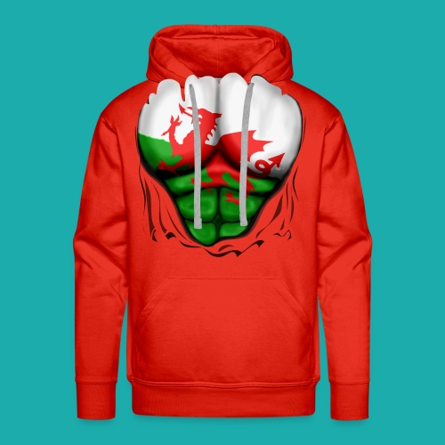 Wales Flag Ripped Muscles, six pack, chest t-shirt - Men's Premium Hoodie