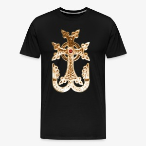 Armenisches Kreuz Gold / Armenian golden Cross Maenner T-Shirt - Männer Premium T-Shirt
