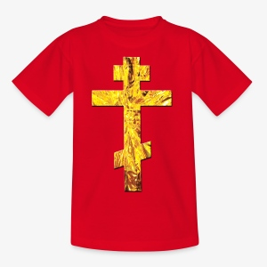 Russisches Kreuz orthodox Gold / Russian Cross Männer T-Shirt - Kinder T-Shirt