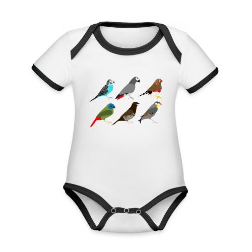 Vogels - Baby contrasterend bio-rompertje met korte mouwen