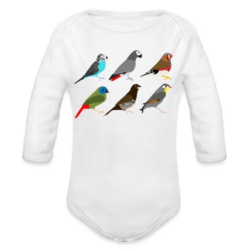 Vogels - Baby bio-rompertje met lange mouwen
