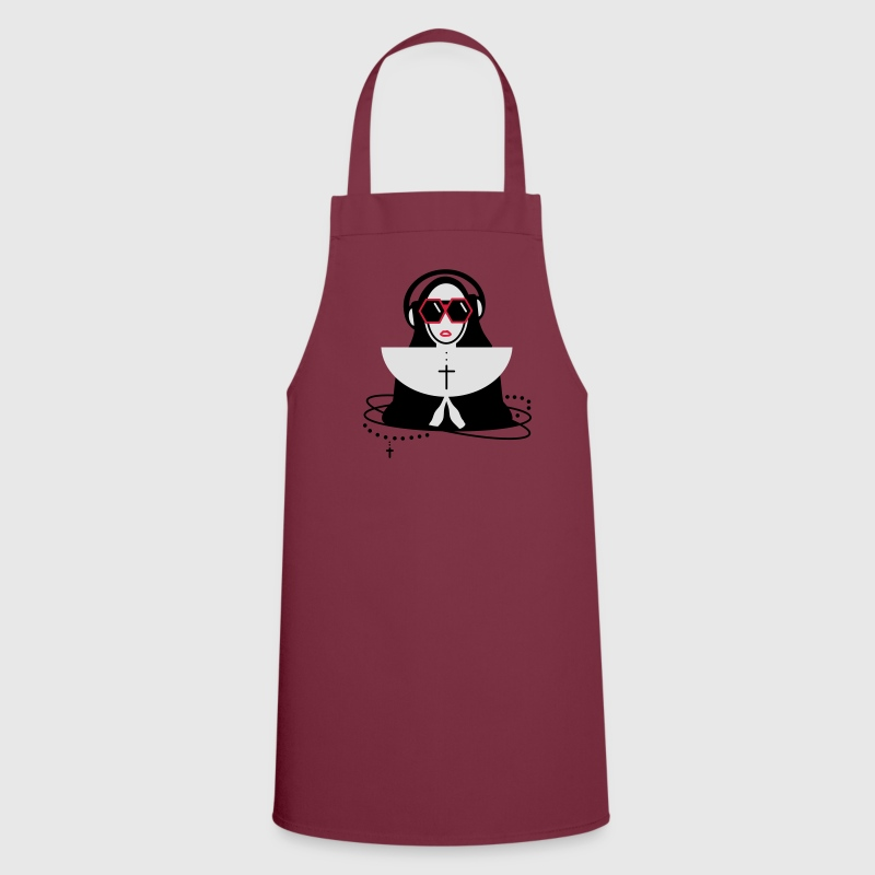 The nun  with sunglasses and headphones  Aprons - Cooking Apron