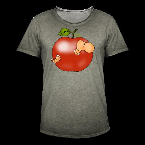 Wurmi im roten Apfel (freche Farben) - Männer Vintage T-Shirt