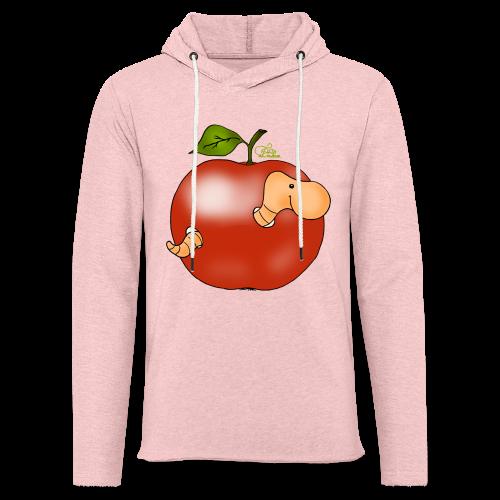 Wurmi im roten Apfel (freche Farben) - Leichtes Kapuzensweatshirt Unisex