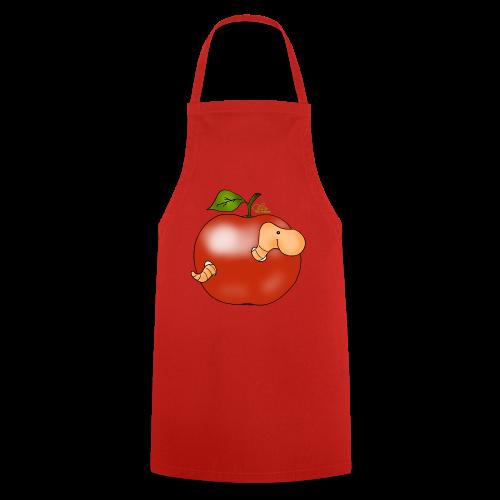 Wurmi im roten Apfel (freche Farben) - Kochschürze