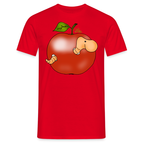 Wurmi im roten Apfel (freche Farben) - Männer T-Shirt
