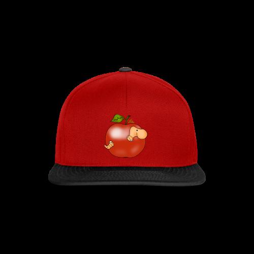 Wurmi im roten Apfel (freche Farben) - Snapback Cap