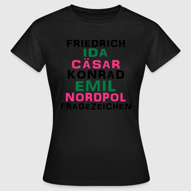 Friedrich Ida Cäsar Konrad Emil Nordpol Fragezeichen, Ficken, Humor, Sprüche, eushirt.com T-Shirts - Frauen T-Shirt