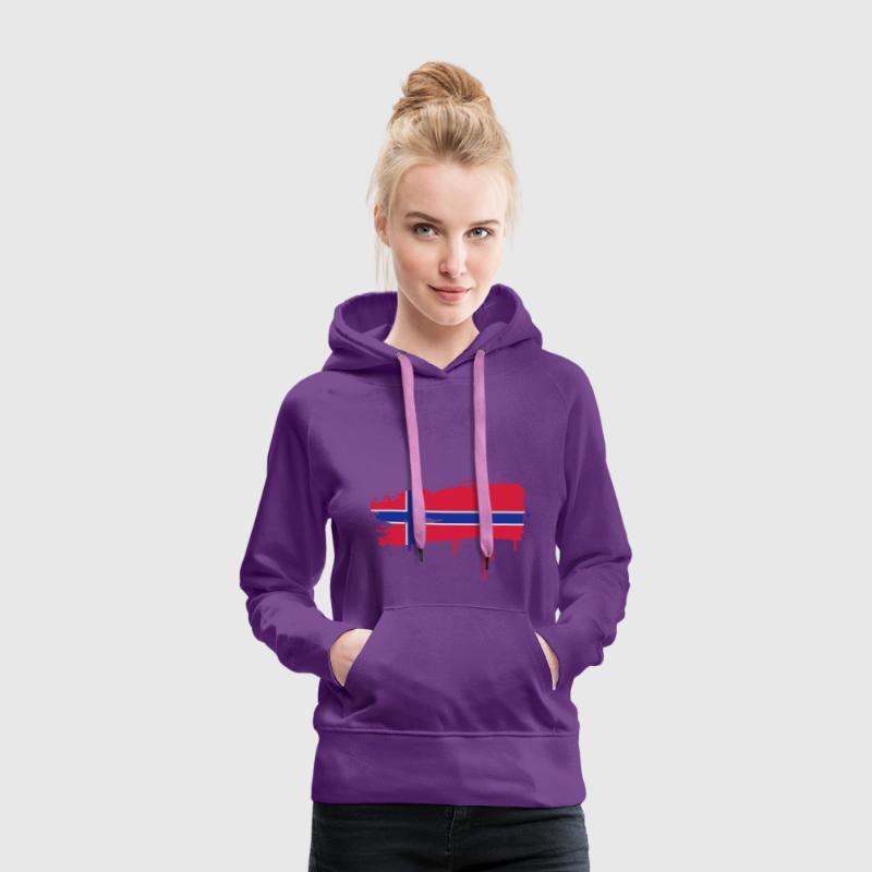 gepinselte norwegische Flagge Pullover - Frauen Premium Hoodie