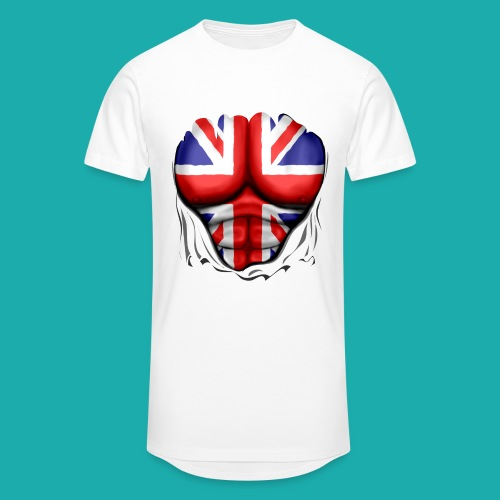 UK Flag Ripped Muscles, six pack, chest t-shirt - Men's Long Body Urban Tee