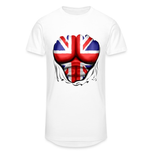 UK Flag Ripped Muscles, six pack, chest t-shirt - Men's Long Body Urban Tee