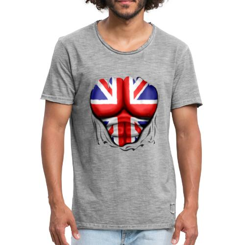 UK Flag Ripped Muscles, six pack, chest t-shirt - Men's Vintage T-Shirt