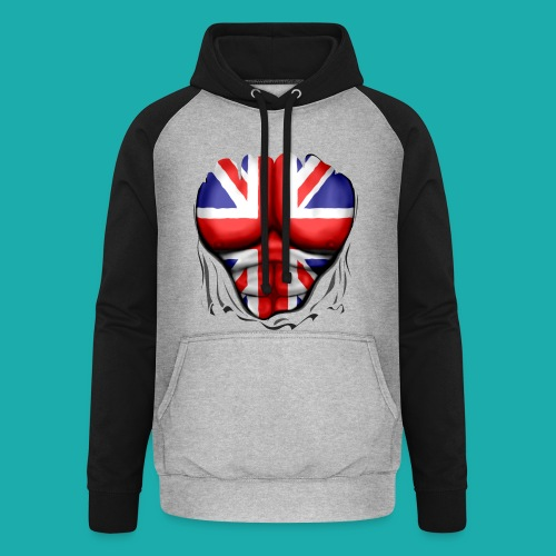 UK Flag Ripped Muscles, six pack, chest t-shirt - Unisex Baseball Hoodie