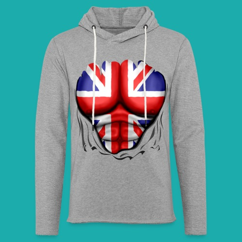 UK Flag Ripped Muscles, six pack, chest t-shirt - Light Unisex Sweatshirt Hoodie
