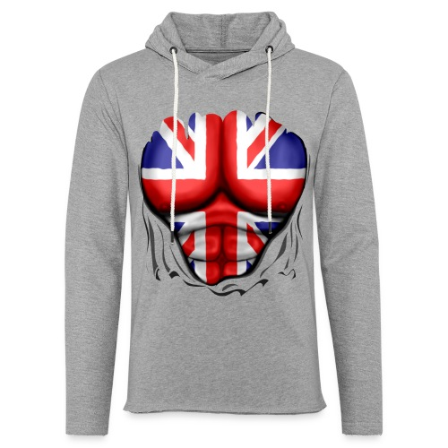 UK Flag Ripped Muscles, six pack, chest t-shirt - Light Unisex Sweatshirt Hoodie