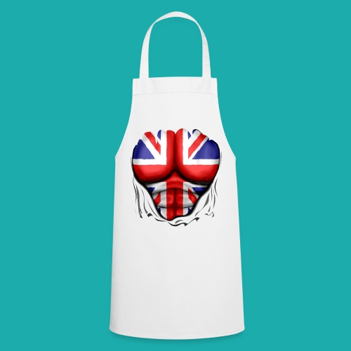 UK Flag Ripped Muscles, six pack, chest t-shirt - Cooking Apron