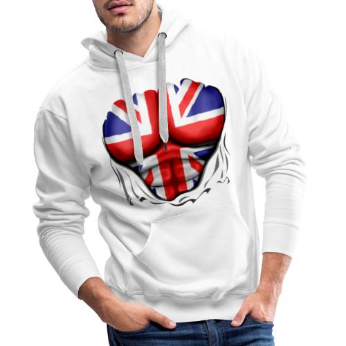 UK Flag Ripped Muscles, six pack, chest t-shirt - Men's Premium Hoodie