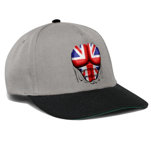 UK Flag Ripped Muscles, six pack, chest t-shirt - Snapback Cap