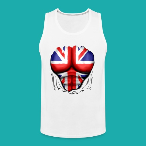 UK Flag Ripped Muscles, six pack, chest t-shirt - Men's Premium Tank Top